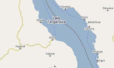 Африка, карта, озеро Танганьика