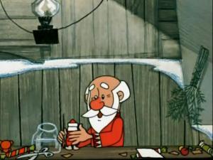 Раскрашенный Дед Мороз слева