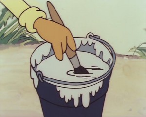 Кадр из мультфильма Лето кота Леопольда - ведро полное краски